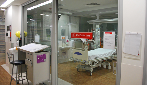 201113. News. Photo: Supplied Isolation room in the Intensive Care Unit, Wellington Hospital