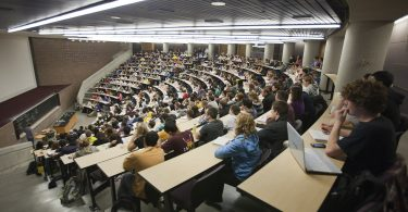 "10/24/11 Students fill a hall for a Chemistry lecture during a ""Day in the Life"" of the University of Michigan on October 24, 2011."